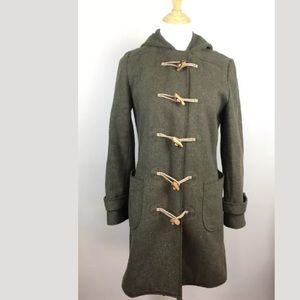 J.Crew hooded wool toggle coat in olive green